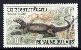 Laos 1967 Water Monitor 200k from Reptiles set fine used, SG 226