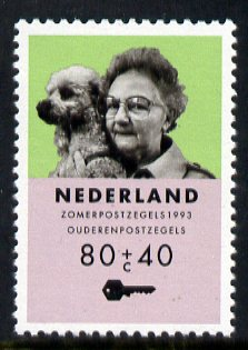 Netherlands 1993 Elderley woman with Dog 80c + 40c from Welfare Fund set, unmounted mint, SG 1679