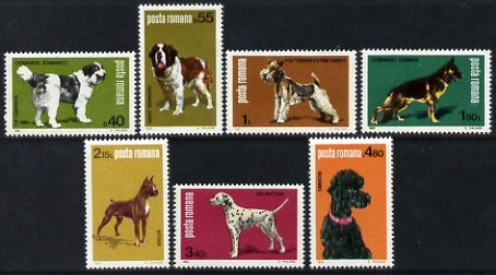 Rumania 1981 Dogs perf set of 7 unmounted mint, SG 4613-19, stamps on dogs, stamps on bernard, stamps on terrier, stamps on gsd, stamps on boxer, stamps on dalmatian, stamps on poodle