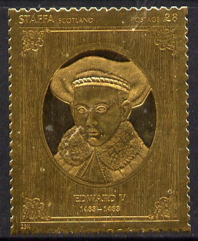 Staffa 1977 Monarchs \A38 Edward V embossed in 23k gold foil (Rosen #484) unmounted mint