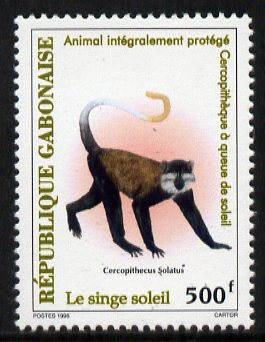 Gabon 1996 Sun-tailed monkey 500f unmounted mint