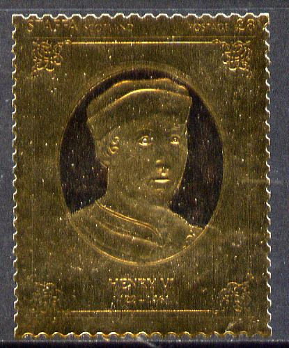 Staffa 1977 Monarchs \A38 Henry VI embossed in 23k gold foil (Rosen #482) unmounted mint