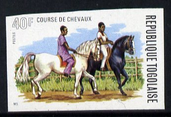 Togo 1974 Exercising Horses 40f unmounted mint IMPERF from Horse Racing set of 4, as SG 1029