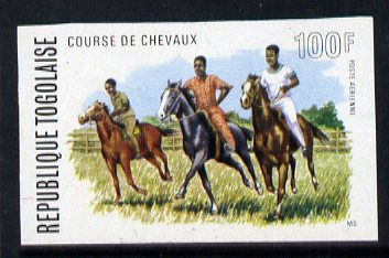 Togo 1974 Horses Racing 100f unmounted mint IMPERF from Horse Racing set of 4, as SG 1031