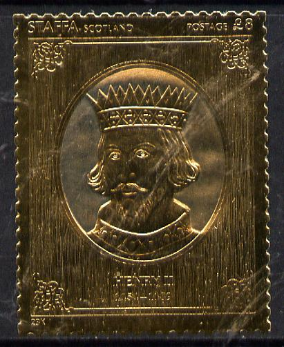Staffa 1977 Monarchs \A38 Henry III embossed in 23k gold foil (Rosen #475) unmounted mint