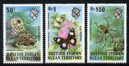 British Indian Ocean Territory 1973 Wildlife 1st Series set of three unmounted mint, SG 53-55