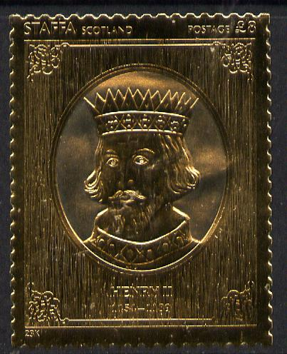 Staffa 1977 Monarchs \A38 Henry II embossed in 23k gold foil (Rosen #472) unmounted mint