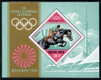 Hungary 1972 Olympic Games (2nd series) 10fo perf miniature sheet, featuring Show-Jumping, unmounted mint, SG MS2695