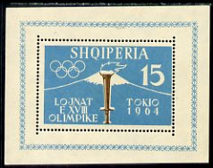 Albania 1962 Tokyo Olympic Games (1st issue) perf m/sheet (flame) mounted mint, SG MS 707a, Mi BL 8A