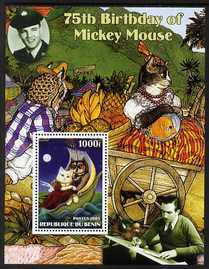 Benin 2003 75th Birthday of Mickey Mouse - The Owl & the Pussy Cat #4 (also shows Elvis & Walt Disney) perf m/sheet unmounted mint. Note this item is privately produced and is offered purely on its thematic appeal