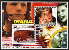 Somalia 2002 Princess Diana 5th Anniversary of Death #06 perf sheetlet containing 2 values with Neil Armstrong, Judy Garland & Walt Disney in background unmounted mint. Note this item is privately produced and is offered purely on its thematic appeal