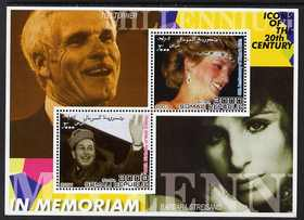 Somalia 2001 In Memoriam - Princess Diana & Walt Disney #16 perf sheetlet containing 2 values with Ted Turner & Barbara Streisand in background unmounted mint