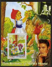 Benin 2003 75th Birthday of Mickey Mouse - Little Red Riding Hood #04 (also shows Elvis & Walt Disney) perf m/sheet unmounted mint. Note this item is privately produced and is offered purely on its thematic appeal