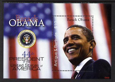 Antigua 2009 Inauguration of Pres Barack Obama $10 perf m/sheet unmounted mint, SG MS4233
