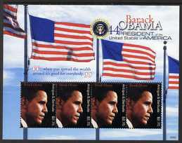 Antigua 2009 Inauguration of Pres Barack Obama perf m/sheet of 4 x $2.75 unmounted mint, SG MS4232