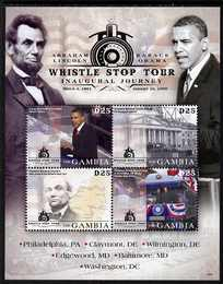 Gambia 2009 Pres Obama Whistle Stop Tour Inaugural Journey perf sheetlet of 4 unmounted mint