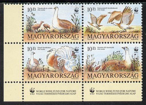 Hungary 1994 WWF (The Great Bustard) se-tenant block of 4 unmounted mint, Mi 4282-85