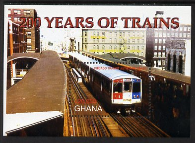 Ghana 2005 Bicent of Railways - Chicago Transit Authority Track perf m/sheet unmounted mint, SG MS3479b