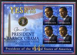 Grenada 2009 Inauguration of Pres Barack Obama perf sheetlet of 4 x $2.75 unmounted mint, SG MS5407