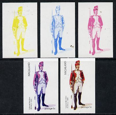 Nagaland 1974 Military Uniforms 5c (French Valaison 1810) set of 5 imperf progressive colour proofs comprising 3 individual colours (red, blue & yellow) plus 3 and all 4-colour composites unmounted mint
