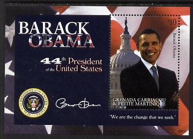 Grenada - Grenadines 2009 Inauguration of Pres Barack Obama perf m/sheet unmounted mint, SG MS3995