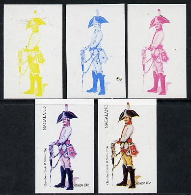 Nagaland 1974 Military Uniforms 10c (Russian Chevaliers Garde 1796) set of 5 imperf progressive colour proofs comprising 3 individual colours (red, blue & yellow) plus 3 and all 4-colour composites unmounted mint