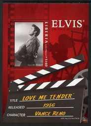 Liberia 2006 Elvis Presley - Love Me Tender perf m/sheet (Elvis playing guitar) unmounted mint