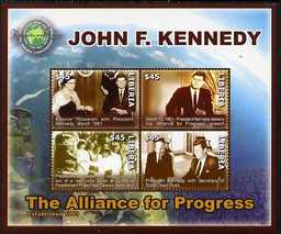 Liberia 2007 90th Birth Anniversary of John F Kennedy - The Alliance for Progress perf sheetlet of 4 unmounted mint