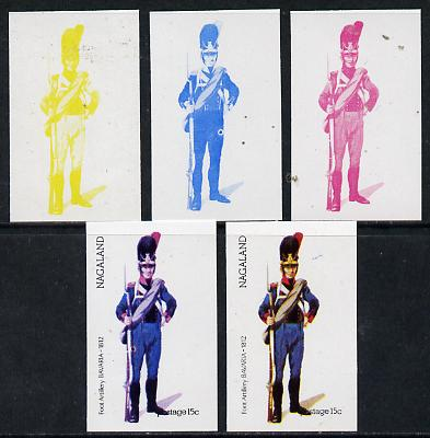 Nagaland 1974 Military Uniforms 15c (Bavarian Foot Artillery 1812) set of 5 imperf progressive colour proofs comprising 3 individual colours (red, blue & yellow) plus 3 and all 4-colour composites unmounted mint