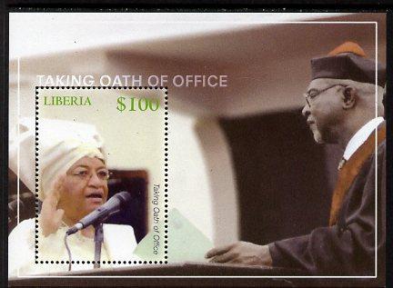 Liberia 2007 Election of President Ellen Johnson Sirleaf perf m/sheet (Taking oath of Office) unmounted mint