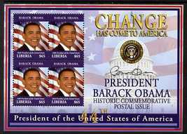 Liberia 2009 Inauguration of Pres Barack Obama perf sheetlet of 4 x $65 unmounted mint