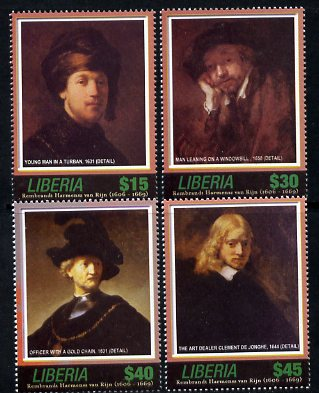 Liberia 2006 400th Birth Anniversary of Rembrandt Harmenz van Rijn set of 4 unmounted mint