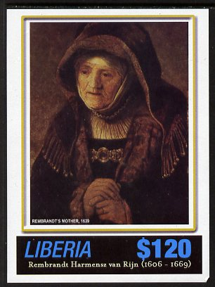 Liberia 2006 400th Birth Anniversary of Rembrandt Harmenz van Rijn imperf sheetlet (Rembrandt's Mother) unmounted mint