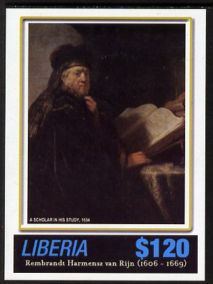 Liberia 2006 400th Birth Anniversary of Rembrandt Harmenz van Rijn imperf sheetlet (A Scholar in his Study) unmounted mint