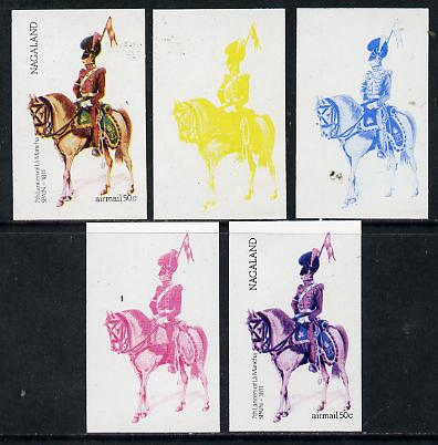 Nagaland 1974 Military Uniforms 50c (Spanish Mounted 7th Lancers 1811) set of 5 imperf progressive colour proofs comprising 3 individual colours (red, blue & yellow) plus 3 and all 4-colour composites, stamps on militaria    horses   animals, stamps on uniforms