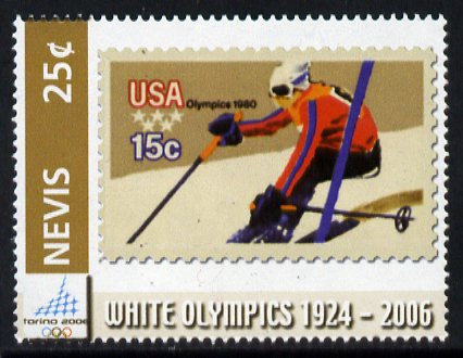 Nevis 2006 Downhill Skier 15c USA stamp on stamp 25c from Winter Olympics set unmounted mint, SG 1962