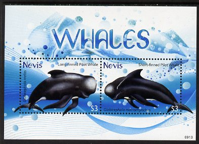 Nevis 2009 Whales perf m/sheet of 2 (Long-finned & Short-finned Pilot Whales), unmounted mint