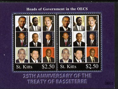 St Kitts 2006 25th Anniversary of the Treaty of Basseterre perf m/sheet, unmounted mint SG MS838