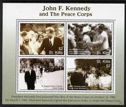 St Kitts 2007 90th Birth Anniversary of John F Kennedy perf sheetlet of 4 (JFK & the Peace Corps), unmounted mint SG 873a