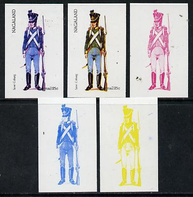 Nagaland 1974 Military Uniforms 25c (Saxe Coburg) set of 5 imperf progressive colour proofs comprising 3 individual colours (red, blue & yellow) plus 3 and all 4-colour composites unmounted mint