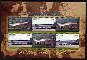 St Kitts 2007 Concorde Around the World perf sheetlet of 6 (3 x Concorde over Singapore, 3 x Concorde at Melbourne Airport) unmounted mint