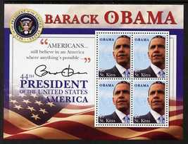 St Kitts 2009 Inauguration of Pres Barack Obama perf sheetlet of 4, unmounted mint SG MS971