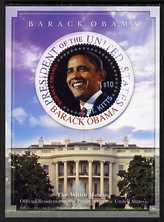 St Kitts 2009 Inauguration of Pres Barack Obama perf m/sheet (with circular stamp), unmounted mint SG MS972