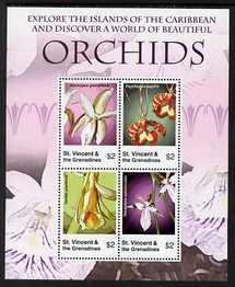 St Vincent 2007 Orchids perf sheetlet of 4 x $2 unmounted mint SG 5640a