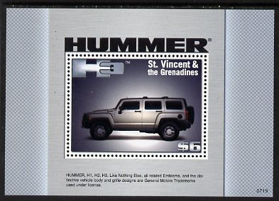 St Vincent 2008 Hummer H3 perf m/sheet unmounted mint SG MS5709