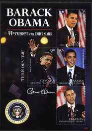 St Vincent - Canouan 2009 Inauguration of Pres Barack Obama perf sheetlet of 4 x $2.75 unmounted mint