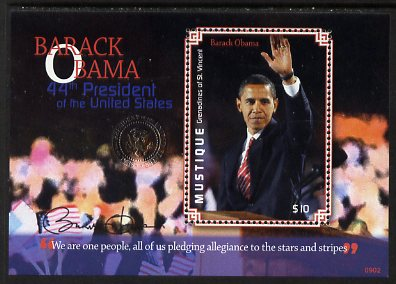 St Vincent - Mustique 2009 Inauguration of Pres Barack Obama perf m/sheet unmounted mint