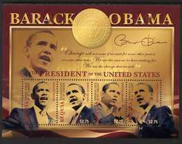 St Vincent - Bequia 2009 Inauguration of Pres Barack Obama perf sheetlet of 4 x $2.75 unmounted mint