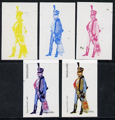 Nagaland 1974 Military Uniforms 40c (French Hussars 1807) set of 5 imperf progressive colour proofs comprising 3 individual colours (red, blue & yellow) plus 3 and all 4-colour composites unmounted mint