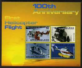 St Vincent - Union Island 2007 100th Anniversary of First Helicopter Flight perf sheetlet of 4 x $2 unmounted mint